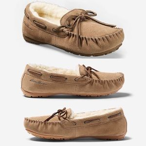 EDDIE BAUER Shearling-Lined Moccasin-Sand-Size 10